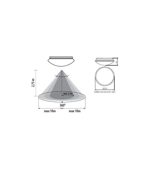 10W LED Lubinis šviestuvas DABA DL-100 IP40 19061